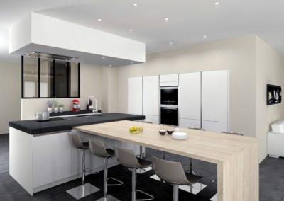 Cuisine 08 - blanc mat, ilot avec table bois, mur d'armoires, sans poignes, verrire